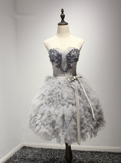A-Line Sweetheart Short Tulle Silver Ruched Homecoming Dress with Beading