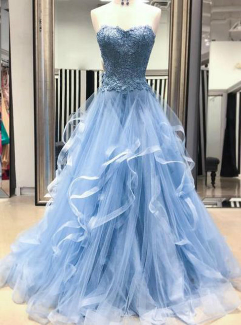 Blue Tulle Lace Appliques Sweetheart Layered Long Prom Dress