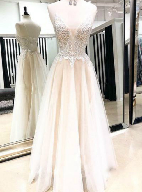 Champagne Tulle V Neck Lace Backless Long Prom Dress