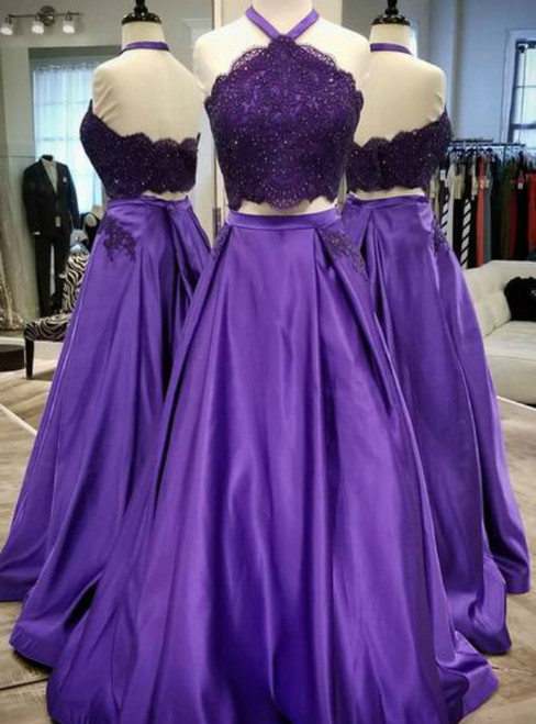 Purple Satin Two Piece Halter Backless Lace Prom Dress With Pocket
