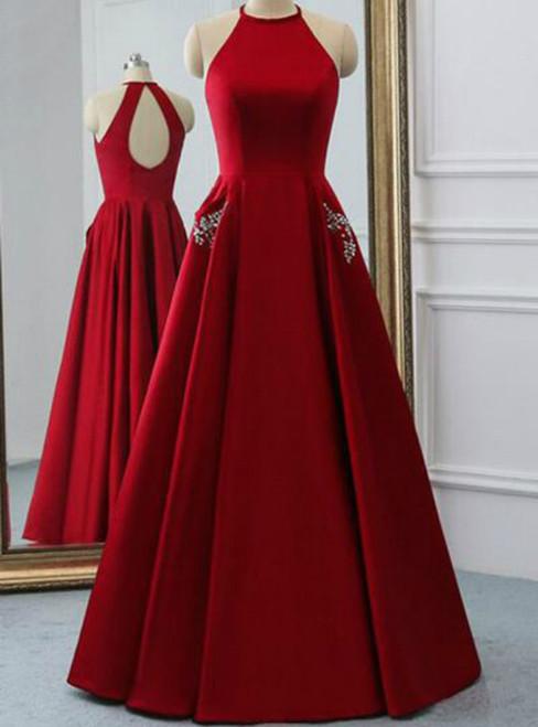 A Line Burgundy Satin Halter Open Back Evening Dress With Pocket