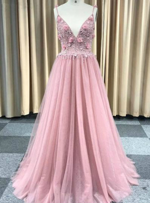 A-Line Pink Tulle Spaghetti Straps Backless Beading Prom Dress