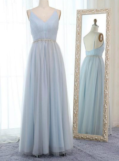 Light Blue Tulle Spaghetti Straps Backless Pleats Prom Dress With Beading