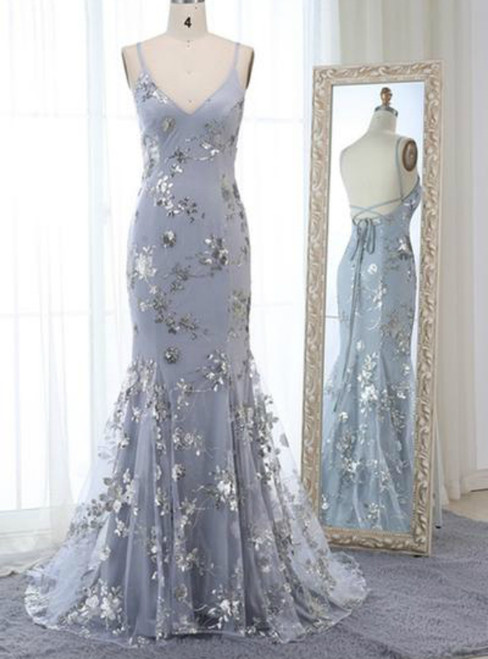 Gray Tulle Sequins Appliques Spaghetti Straps Backless Long Prom Dress