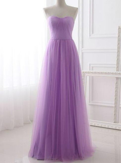 A-Line Lavender Tulle Sweetheart Neck Simple Prom Dress