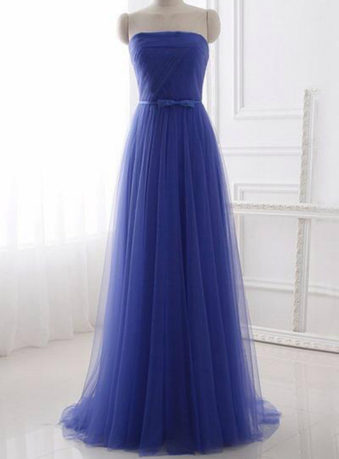 Cheap Blue Tulle Strapless Long Simple Prom Dress With Bow