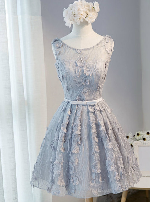 A-Line Scoop Sleeveless Short Silver Lace Homecoming Dress with Appliques