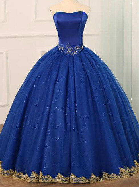 Royal Blue Tulle Strapless Appliques Formal Quinceanera Dresses