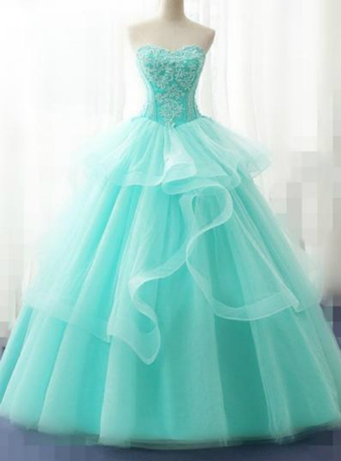 4eb5407078f Light Green Tulle Strapless Layered Appliques Quinceanera Dress