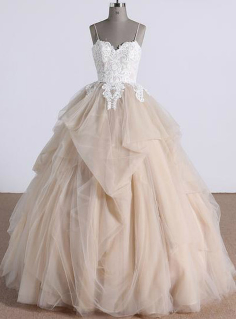 Champagne Tulle Ruffles Long Backless Lace Appliques Quinceanera Dresses