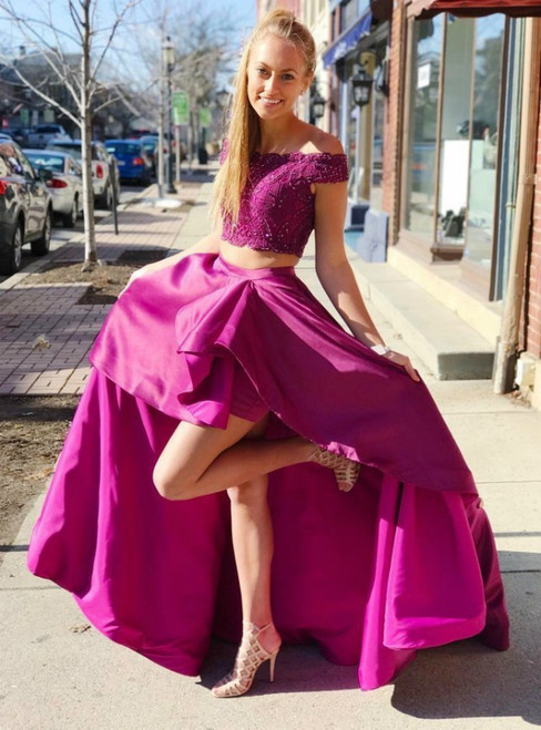 Purple Two Piece Satin Off The Shoulder Appliques With Beading Prom Dress