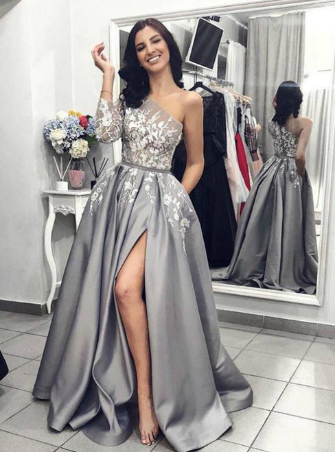 A-Line Gray Satin One Shoulder Appliques Prom Dress With Pocket