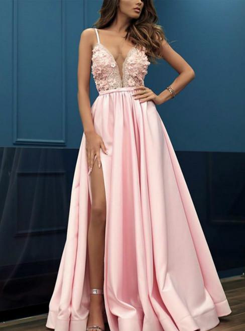 A-Line Pink Satin V-neck Appliques Prom Party Dress With Side Split
