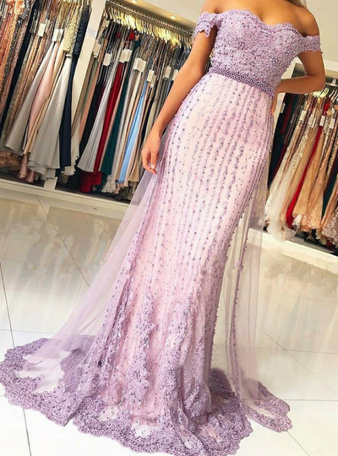 Lavender Mermaid Tulle Off The Shoulder Appliques Beading Prom Dress