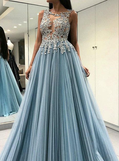 A-Line Blue Open Back Pleats Appliques Long Formal Prom Dress