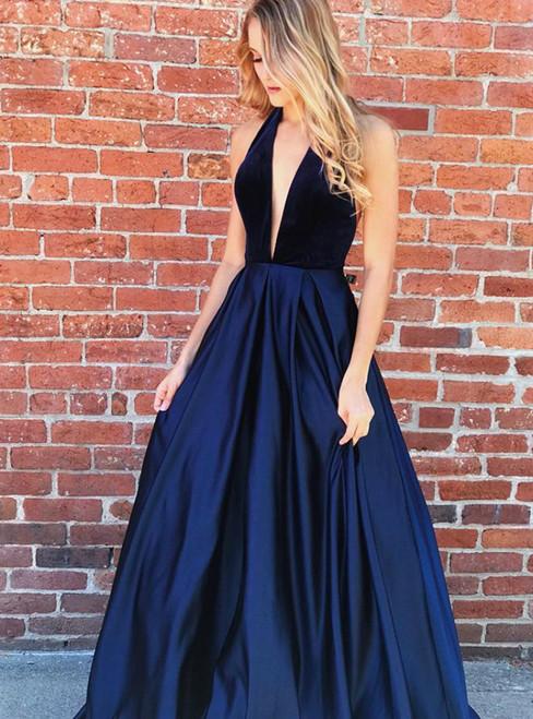 Navy Blue Satin Deep V-neck Backless Long Prom Dress