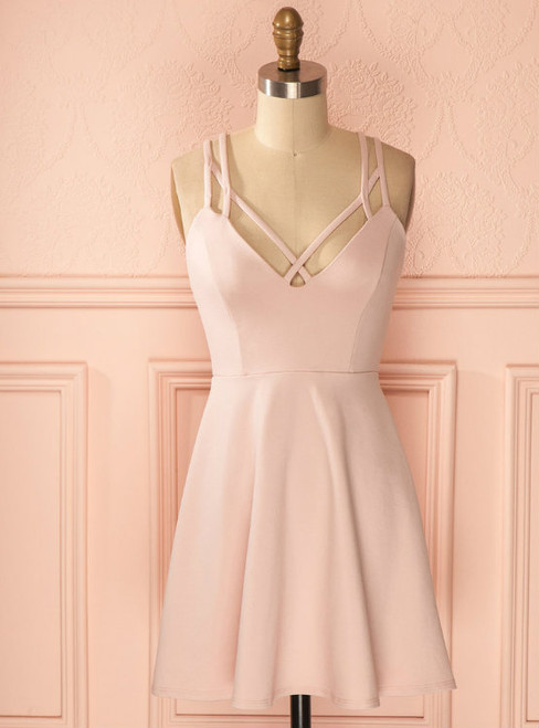 Sexy A-Line Criss-Cross Straps Light Pink Satin Homecoming Dresses With Pleats