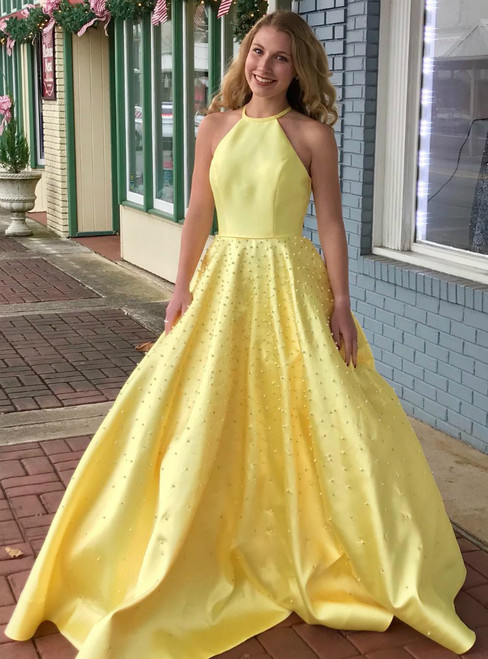 A-Line Halter Satin Backless Long Prom Dress With Pearls
