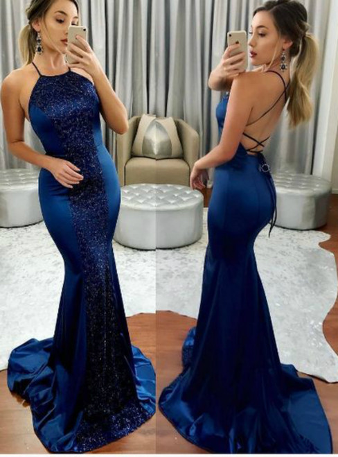 Blue Mermaid Backless Halter Satin Sequins Long Prom Dress