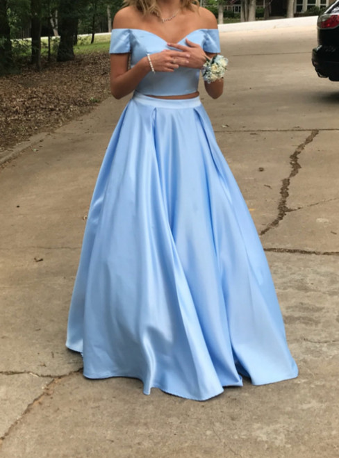 Sky Blue Two Piece Satin Off The Shoulder Long Prom Dresses