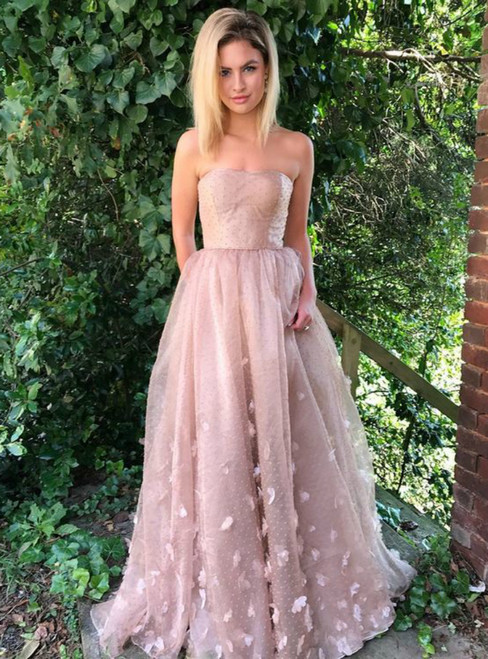 A-Line Pink Tulle Appliques Strapless Formal Prom Dress