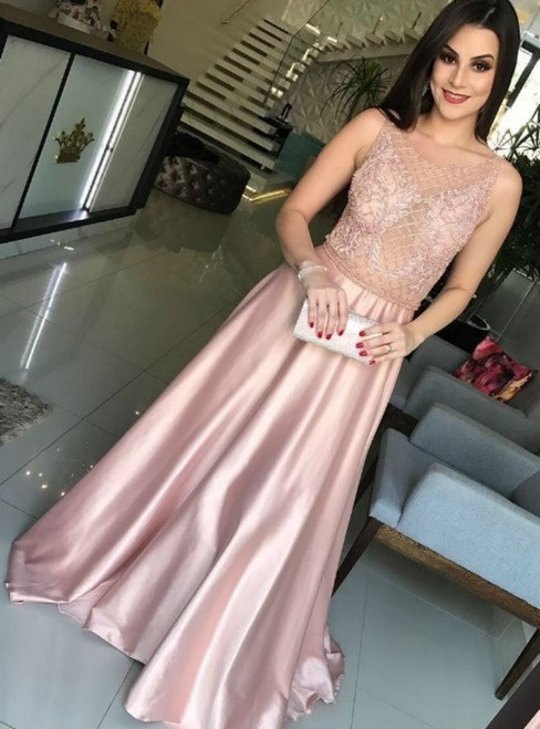 A-Line Pink Satin See Through Top Beading Long Prom Dress