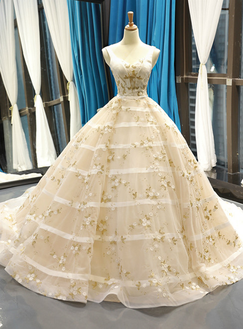 Champagne Ball Gown Straps Tulle Appliques Backless Sweet 16 Prom Dress