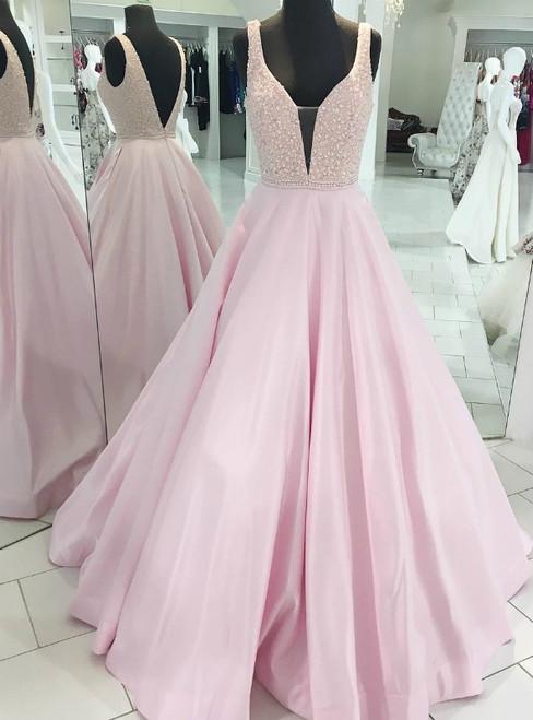 Pink Satin Deep V-Neck Sleeveless Open Back Long Prom Dress