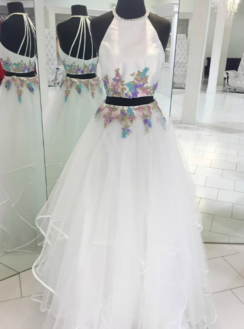 White Two Piece Halter Tulle Appliques Long Prom Dress