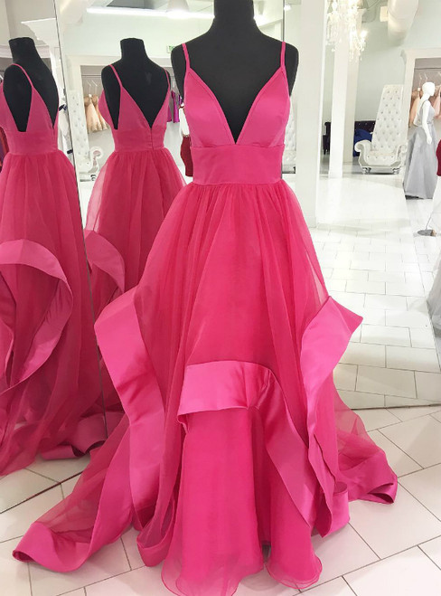 A-Line Fuchsia Tulle Deep V-neck Backless Long Prom Dress