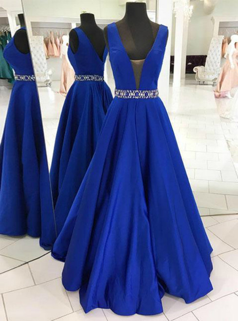 A-Line Blue V-neck Backless Long Prom Dress With Beading