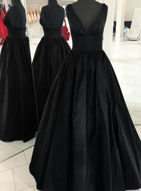A-Line Black Satin Deep V-neck Backless Long Prom Dress