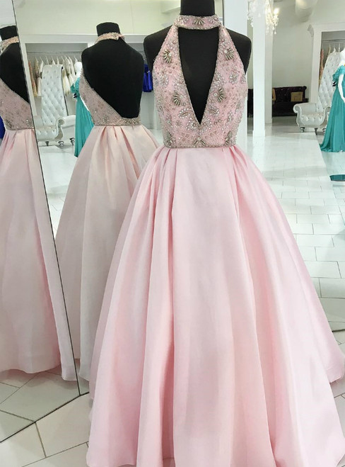 A-Line Pink Satin Halter Bakcless Long Prom Dress With Beading