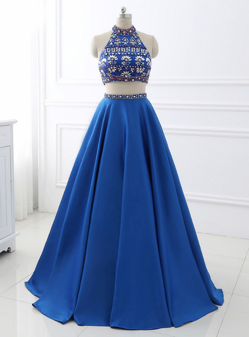 A-Line Royal Blue Satin Two Piece Halter Backless Prom Dress With Crystal