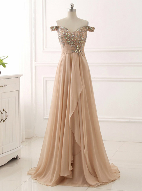 Champagne Chiffon Off The Shoulder Pleats Prom Dress With Crystal