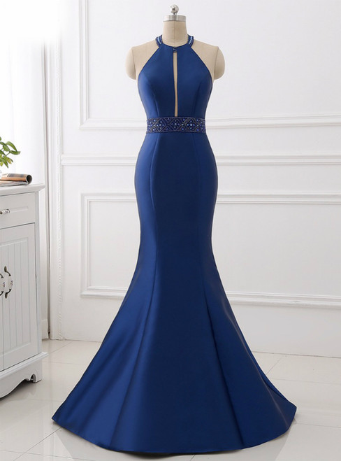 Blue Satin Mermaid Halter Cut Out Backless Long Prom Dress