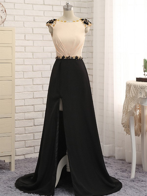 A-Line Champagne Black Cap Sleeve Backless Long Prom Dress