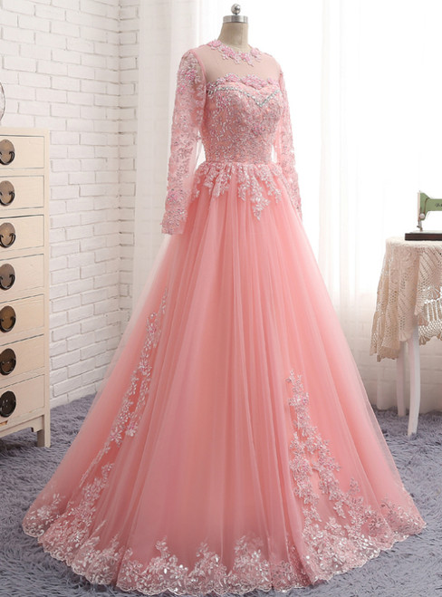 A-Line Pink Tulle Lace Appliques Long Sleeve Prom Dress
