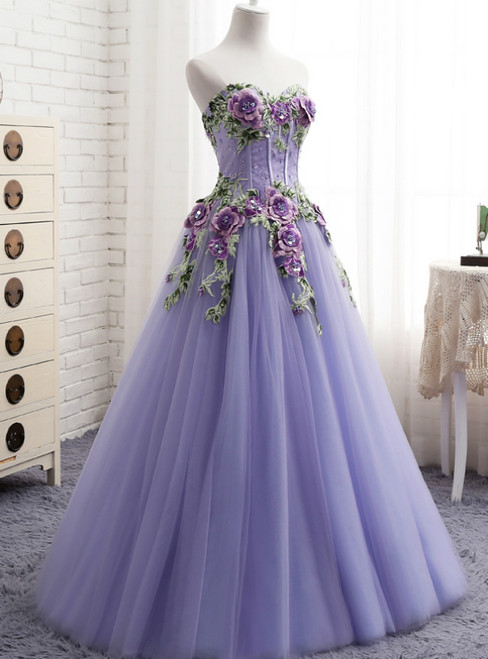A-Line Purple Tulle Embroidery Appliques Sweetheart Neck Prom Dress