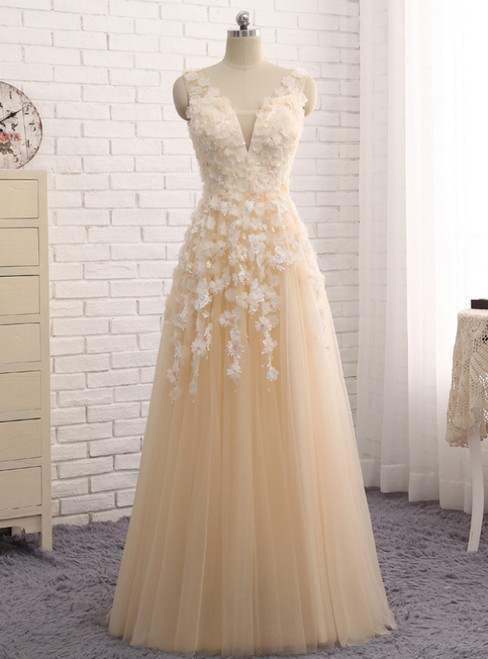 Champagne Tulle V-neck See Through Back Appliques Prom Dress