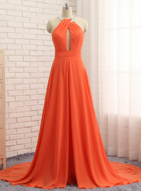 A-Line Orange Chiffon Halter Cut Out Backless Prom Dress