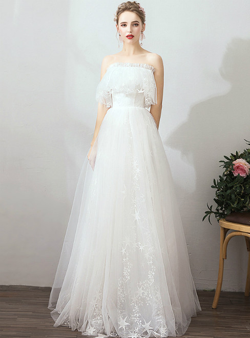 In Stock:Ship in 48 Hours White Tulle Off The Shoulder Beach Wedding Dress