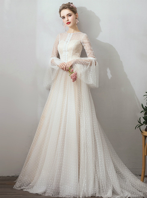 In Stock:Ship in 48 Hours Champagne Tulle Long Sleeve Simple Wedding Dress
