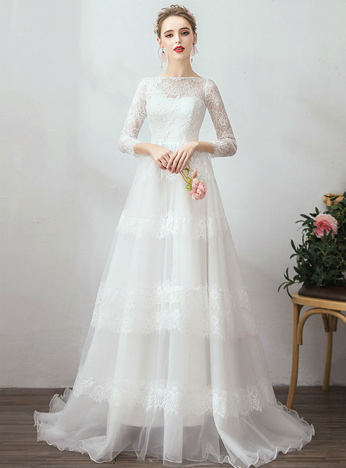 In Stock:Ship in 48 Hours White Tulle Lace Long Sleeve Wedding Dress