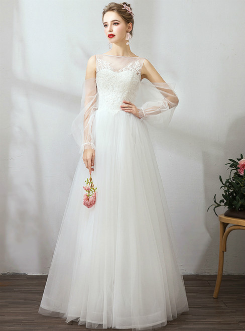 In Stock:Ship in 48 Hours White Cold Shoulder Long Seeve Wedding Dress