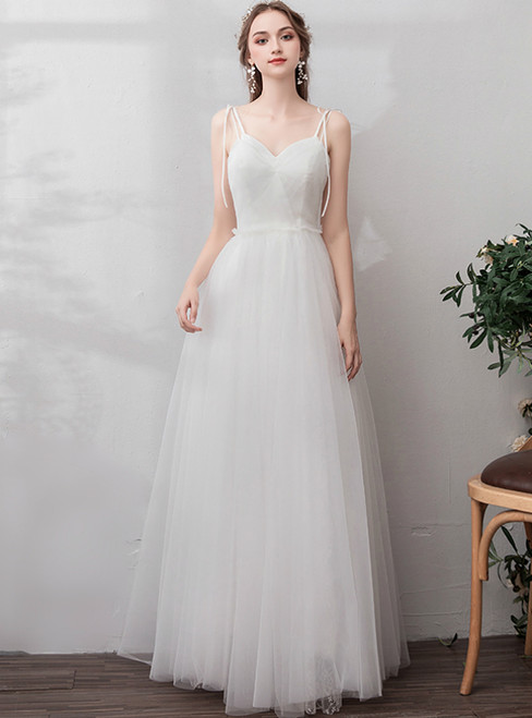 In Stock:Ship in 48 Hours White Tulle Spaghetti Straps Wedding Dress