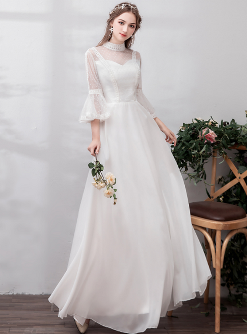 In Stock:Ship in 48 Hours White High Neck Chiffon Casual Wedding Dress