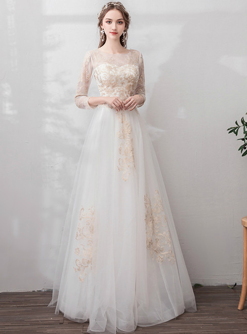 In Stock:Ship in 48 Hours White Tulle Appliques Long Sleeve Backless Wedding Dress