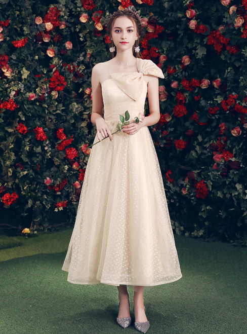 In Stock:Ship in 48 Hours Champagne Tulle One Shoulder Bridesmaid Dress