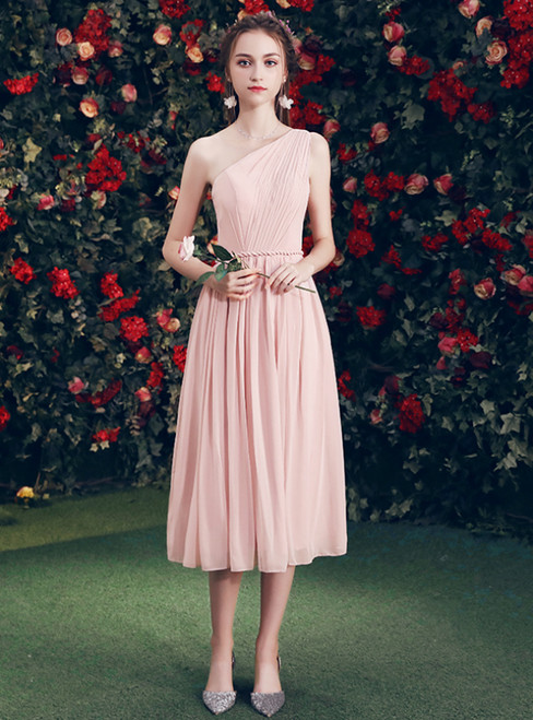 In Stock:Ship in 48 Hours Pink Chiffon One Shoulder Pleats Bridesmaid Dress